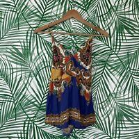 Anthropologie Farm Rio Floral Paisley Patchwork Tie Tank Women's Size Small