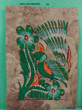 VINTAGE AMATE BARK PAPER PAINTING 5.50 x 3.75 INC COLOR on BROWN FROM MEXICO #28