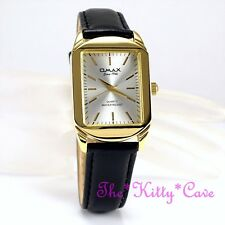 OMAX Gold Plt Swiss BRAND Classic Leather SEIKO Movt Unisex Dress Watch Sc8089