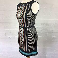 Oasis Women's Dress Size 8 Mini Short Sleeveless Black Orange Blue Embellished