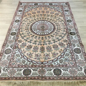 YILONG 5'x8' Handmade Silk Area Rug Lounge Family Room Indoor Carpet Y044C