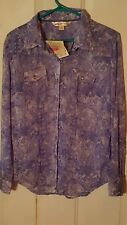 NWT Cumberland Outfitters women's button up sheer blouse  size L