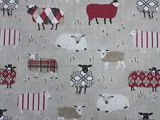 Baa Baa Sheep Peony Red Curtain Craft Upholstery Designer Fabric
