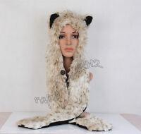 Leopard Full Hood Hoodie Fur Animal Hat Mittens Scarf 3 IN 1 Function Winter Hat