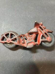 Vtg Cast Iron Toy Motorcycle Made In USA Hubley? Barclay?