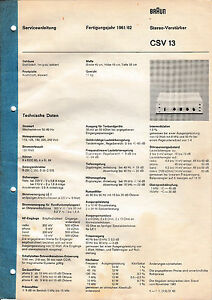 Service Manual-Anleitung für Braun CSV 13