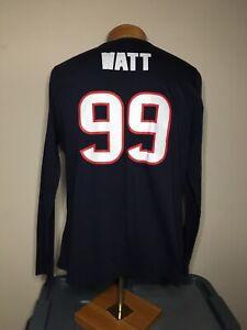 Houston Texans J.J. Watt #99 NFL Fan Fashion Long Sleeve Blue Shirt Men's Sz XXL