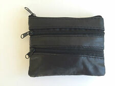 BLACK MENS WOMENS BOYS LEATHER ZIP COIN PURSE WALLET POUCH KEY RING CASE MONEY