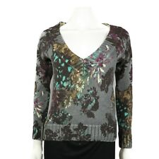 Kenzo Floral Wool V-Neck Sweater - Small - Knitwear Jumper Gray Multicolor