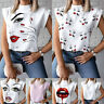 Women Summer T Shirt Tee Tops Blouse Short Sleeve Streetwear Pullover Stand Neck