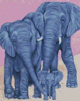 Cross Stitch Chart - Kit Elephant Family