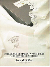 PUBLICITE ADVERTISING 034   1992   ANNE DE SOLENE  linge de maison