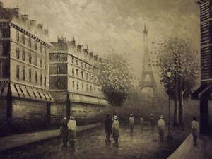 paris street black white large oil painting canvas art france cityscape original