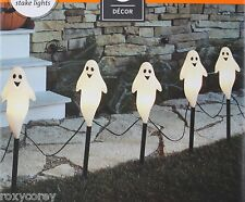 Halloween 5 Ghost Stake Light Pathway Driveway Black Wire Lighted Length 8 ft