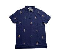 Polo Ralph Lauren College Bear Custom Slim Fit Polo Golf Shirt Navy NWT Men's M