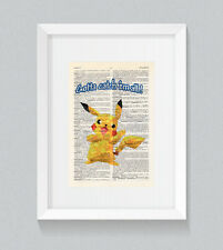 Polygon Pokemon Pikachu Gotta Catch 'em All Vintage Dictionary Book Print Art