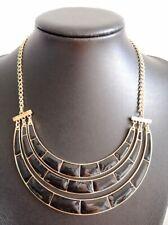 Gold Black Enamel Art Deco Link Statement Necklace Retro Vintage Zara Mayb ?