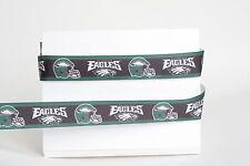 "Philadelphia Eagles 7/8"" Grosgrain Ribbon 1,3,5,10 Yards Football Ship From Usa"