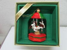 Vintage Christmas Paper Tunes Electronic Musical Horse Carousel Ornament IOB