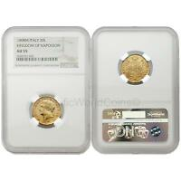 Italy 1808M Kingdom of Napoleon 20 Lire Gold NGC AU55