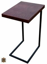 """27"""" H Ambrogio Set of Two Orchard Laptop Table Iron Stand Croc Leather Top"""