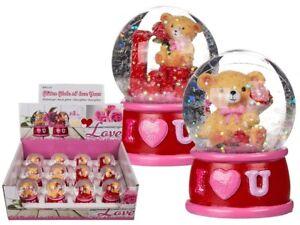 I Love You Bear Glitter Globe - Romantic Gift Partner Valentines Day Shake Teddy