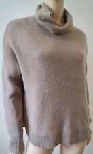 360 Cashmere Beige Cachemire Col Polo à Manches Longues Rib knitjumper Sweater Top M