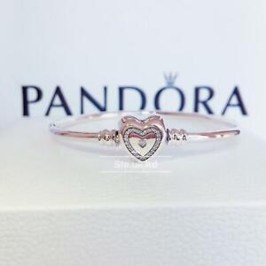 "New Authentic PANDORA Wishful ""Family Forever"" Engraved Heart Bangle 590729CZ"