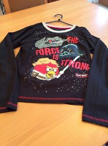 boys clothes 11-12 years Rebel Black Cotton Angry Birds Star Wars Sleeved Top