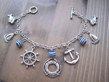 *NAUTICAL LIFE RING BLUE STRIPE CHARM SP BRACELET* Anchor Wheel Fish Sailor Gift