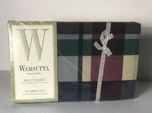 NEW WAMSUTTA Supercale Plus TYLER PLAID-HUNTER Twin FItted Sheet SEALED