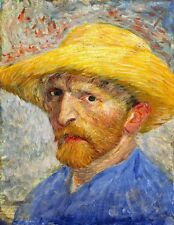 Vincent Van Gogh Self Portrait with Straw Hat 1887 Painting Fine Art Reprint A4