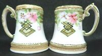 ANTIQUE 1880s PORCELAIN SALT PEPPER SHAKERS HAND PAINTED FLORAL MORIAGE UNMARKED