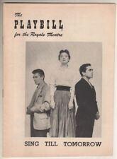 """Sing Till Tomorrow""  Playbill  1953   John Marley, Eileen Ryan, Michael Sheehan"