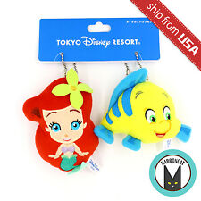 Japan Tokyo Disneyland Sea Little Mermaid Ariel & Flounder Plush Phone Charm