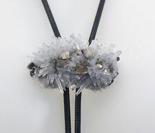 Sterling Silver Bolo Tie ~Quartz Crystal & Pyrite Mineral ~ Black Wire Mesh Cord