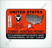 Zombie Hunting Permit United States Vinyl Sticker Decal Walking Dead Gun Pistol