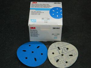 "BOX 3M 36144 HOOKIT BLUE ABRASIVE 3"" INCH (50) DISCS MULTI-HOLE 120 GRADE GRIT"