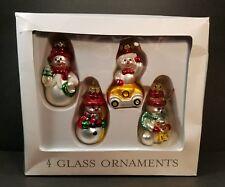 Target Set Of 4 Glass Snow Man Christmas Ornament Set 2002