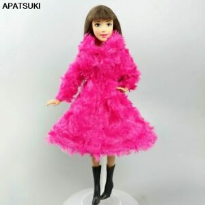"""Pink Winter Rose Fur Warm Cardigan Coat for 11.5"""" 1/6 Doll Outfits Clothes Boots"""