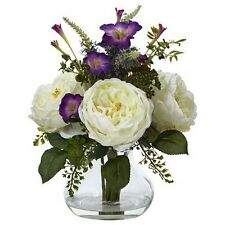 Nearly Natural 1413-WH Rose and Morning Glory Arrangement with Vase NEW