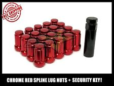 20 RED SPLINE TUNER RACING LUG NUTS +1 KEYS | 12X1.25 | SUBARU STI  BRZ FR-S