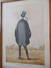 1885 BIZETSKI GRAVURE BY L'ALBUM COMIQUE équitation Mr CHARLES LAFITTE