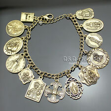 Catholic Religious Church Medals Saints PRAY FOR US Cross Chain Bracelet Bangle