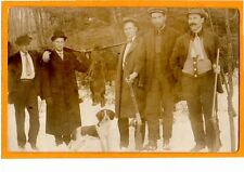 Real Photo Postcard RPPC - Hunting- Five Hunters with Rifles Dog and Beaver