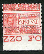 Italy special delivery SC# E1 MNH-MH pair SHIFTED PERFORATION