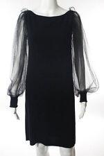 Azzaro Black Wool Silk Cashmere Boat Neck Net Sleeve Little Black Dress Size 8