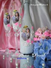 Personalized Wedding Toast Champagne Wine Glass Flutes Bride Groom Mr Mrs Pink