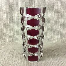 J G Durand France Windsor Rubis Cranberry and Clear Glass Vase
