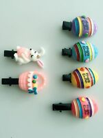 2 OR 4 Girl Kid Baby HAPPY EASTER Hat Craft Rabbit Bunny Egg  Hair Clip PROP